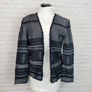 LOFT|Navy Fray Hem Woven Blazer
